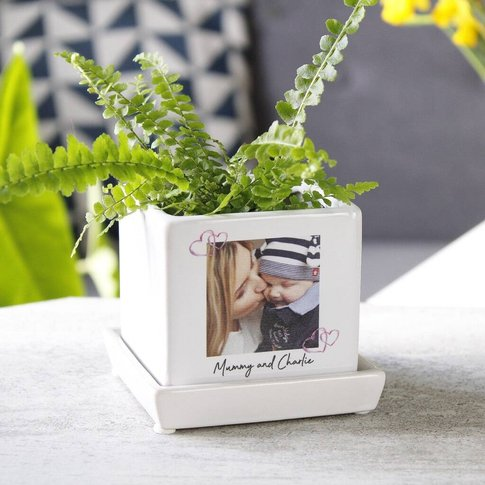 First Mother's Day Photo Cube Plant Pot Keepsake