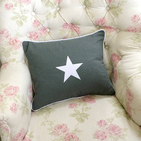 Linen Star Piped Cushion