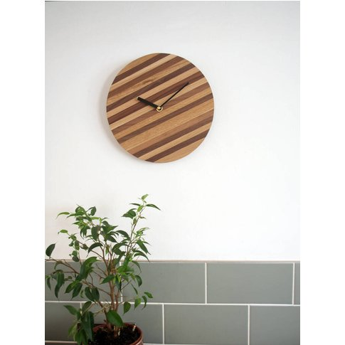 Striped Wooden Round Wall Clock
