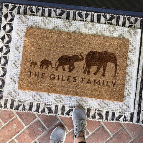 Personalised Elephant Family Door Mat