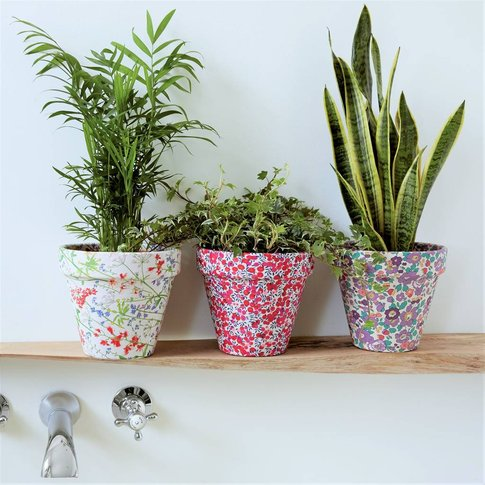 Liberty Print Fabric Covered Plant Pot
