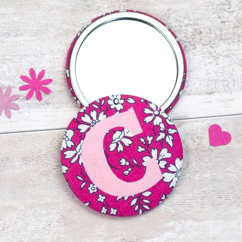 Liberty Initial Mirror, Bright Pink/Pink Floral/Pink