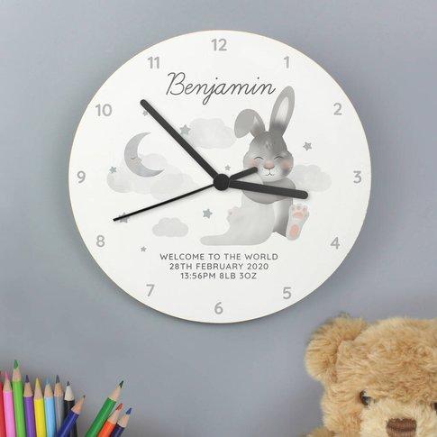 Personaised Bunny Moon And Stars Clock