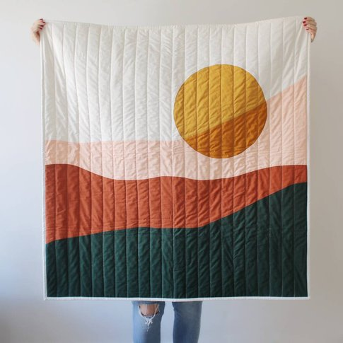 Abstract Dusk Modern Quilted Blanket