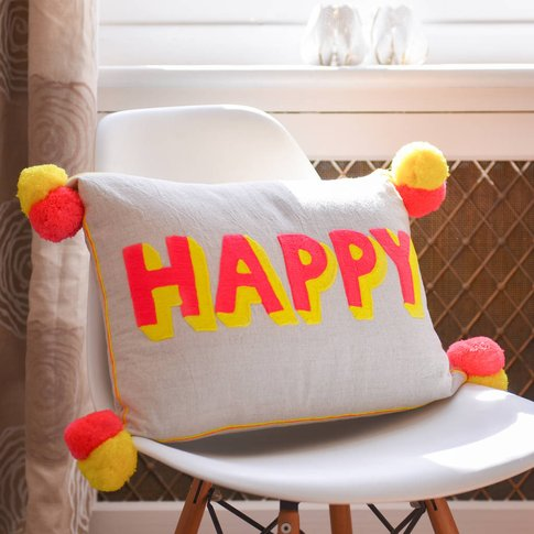 Embroidered Fun Pom Pom Cushion