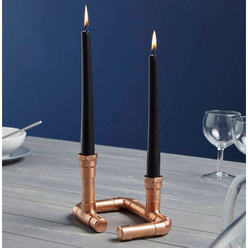 Industrial Twin Copper Piping Candle Holder