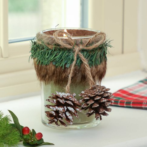 Pine Cone And Faux Fur Christmas Candle Holder