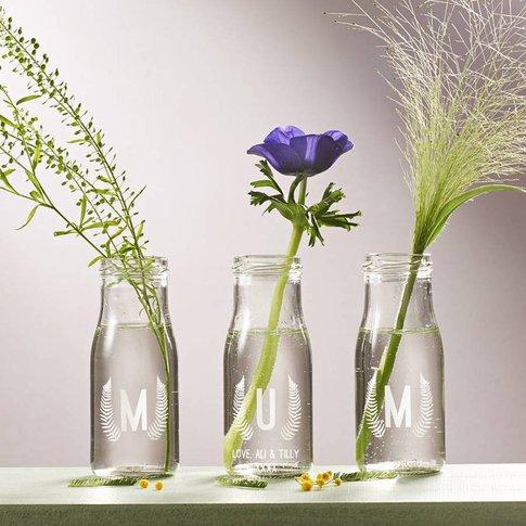 Personalised 'Mum' Botanical Bottle Bud Vases