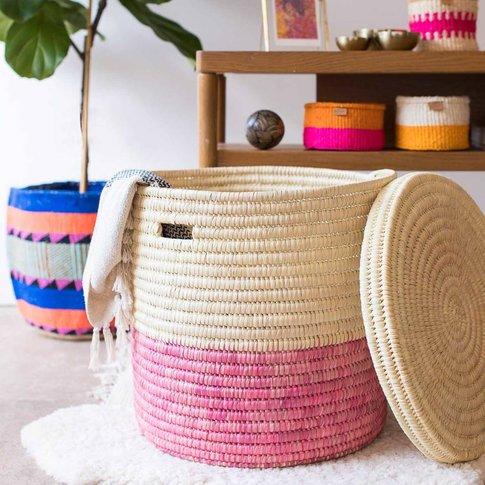 Raspberry Colour Block Lidded Laundry Basket