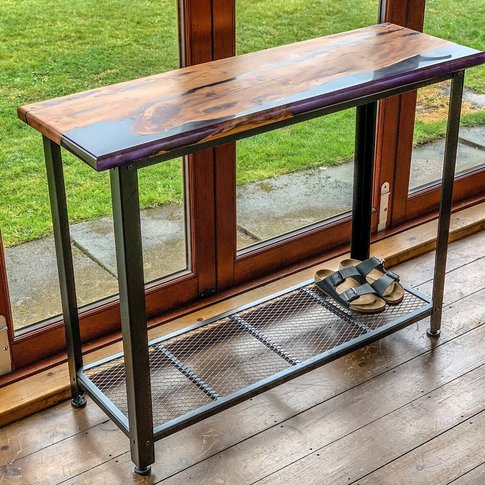 Yew And Resin Console Table