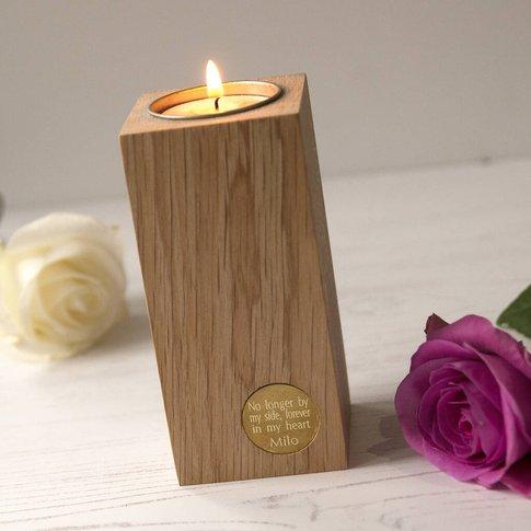 Pet Memorial Personalised English Oak Candleholder