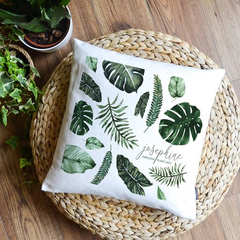 Green Leaves Personalised Cushion