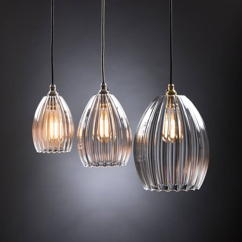 Clear Ribbed Glass Molly Pendant Light, Red/Aqua/Wine