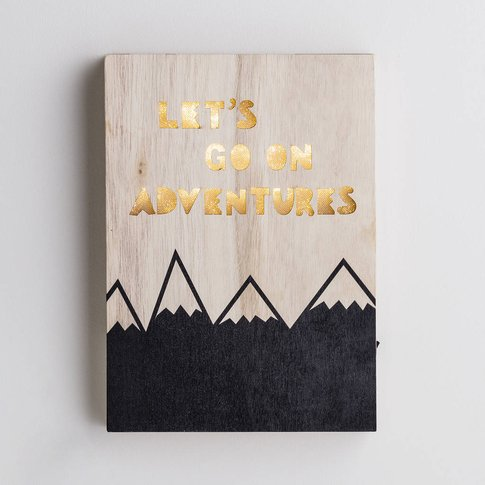 Let's Go On Adventures Wooden Wall Light