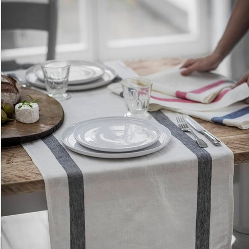 Charcoal French Stripe Linen Table Runner, Charcoal/...