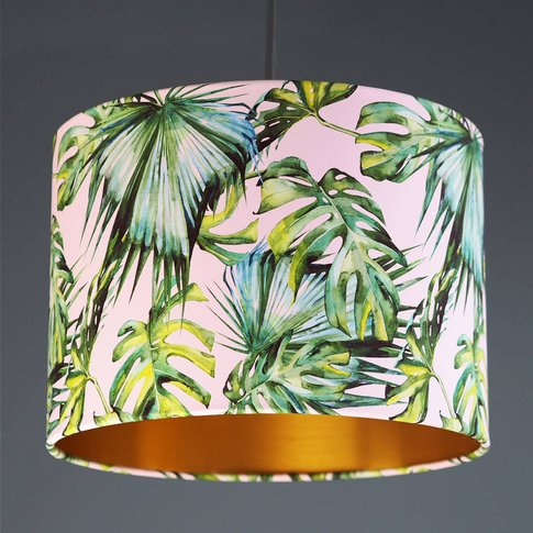 Green And Blush Pink Tropical Plant Drum Lampshade