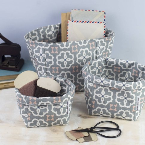 Ines Fabric Set Of Three Storage Boxes