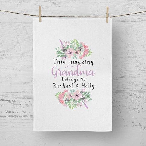 Personalised This Amazing Grandma Belongs To Tea Towel