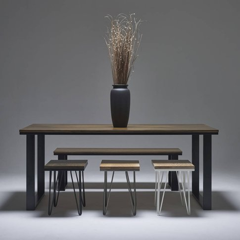 Dark Oak Dining Table With Modern Steel Legs