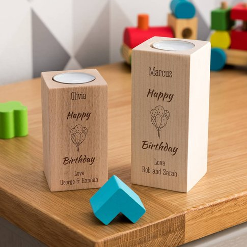 Personalised Happy Birthday Candle Holder Gift