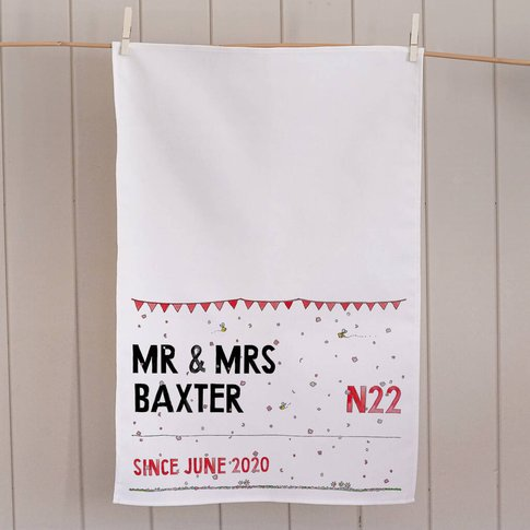 Wedding Street Sign Personalised Tea Towel