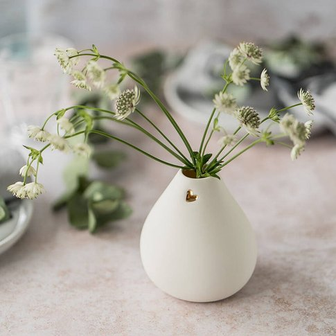 Porcelain Bud Vase With A Gold Embossed Heart