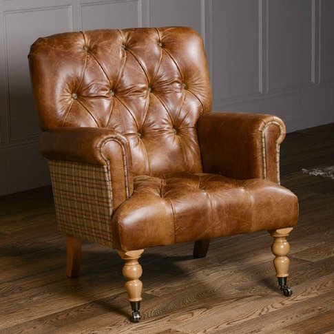 Imperial Buttoned Armchair Vintage Leather Or Tweed, Brown/Black/Grey