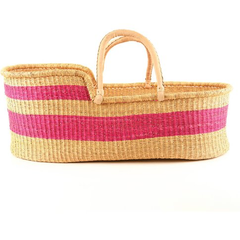 Mtoto: Bright Pink Stripe Woven Moses Basket