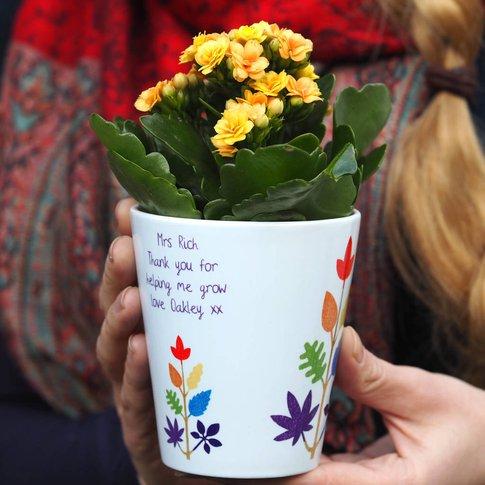 Rainbow Tree Personalised Teacher Plant Pot Gift
