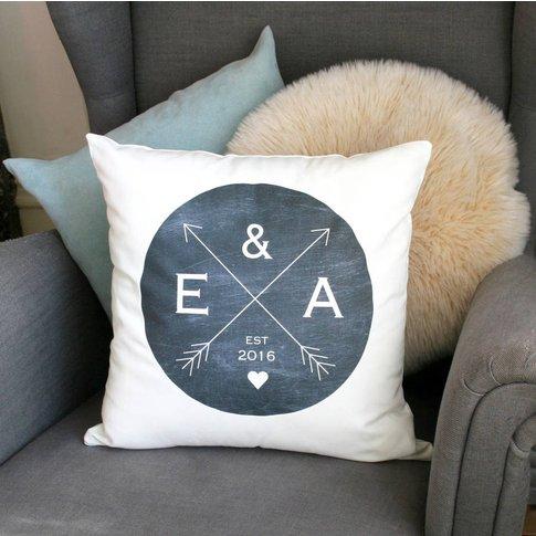 Personalised Wedding Crossed Arrow Cushion, Charcoal...
