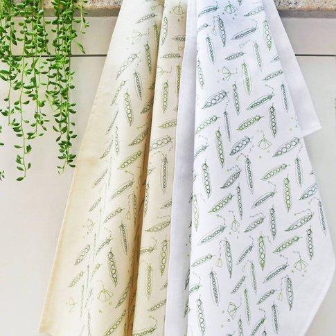 Peas Printed Cotton Tea Towel