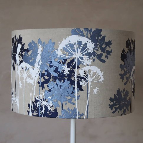 Botanical Lampshade White, Navy And Pale Blue, Blue