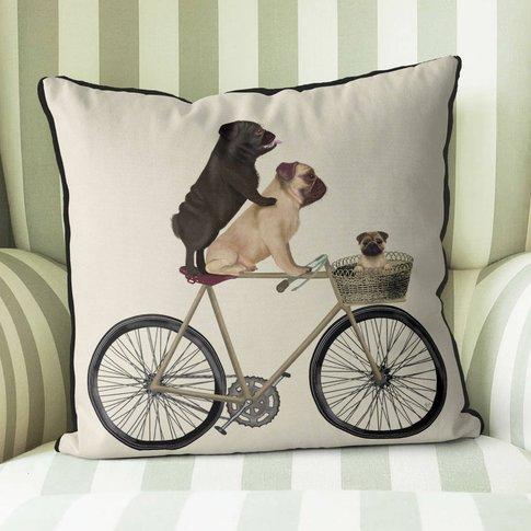 Pugs On Bicycle Decorative Cushion