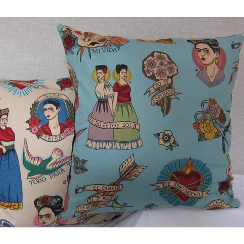 Frida Kahlo Mexican Cushion Cover, Blue/Cream