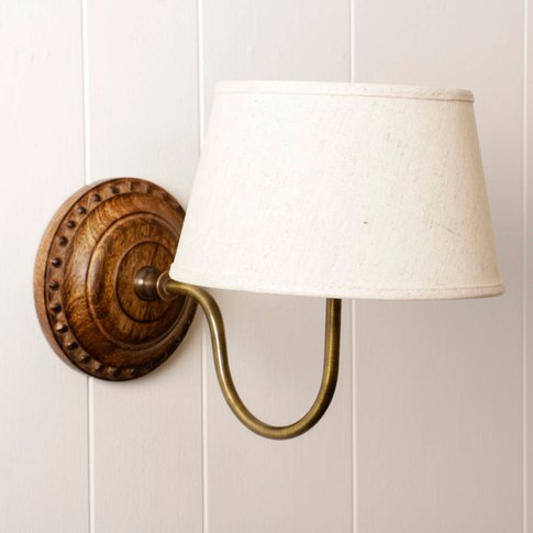 Carved Wood And Brass Wall Light With Linen Shade