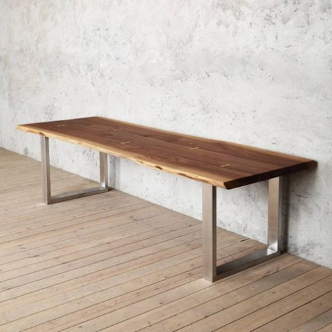 York Live Edge Solid Walnut Dining Table