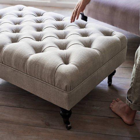 Elbert Buttoned Footstool, Natural Linen