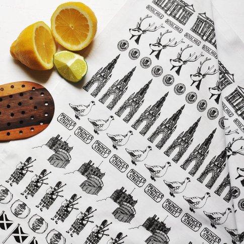 Scottish Black And White Cotton Tea Towel
