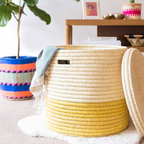 Colour Block Lidded Laundry Basket