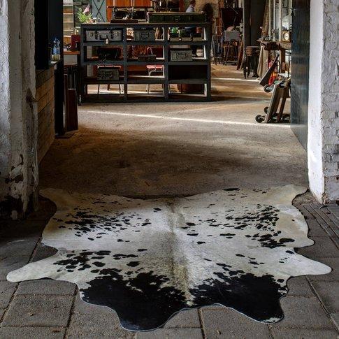 Cow Hide Floor Rug, Black/White/Beige