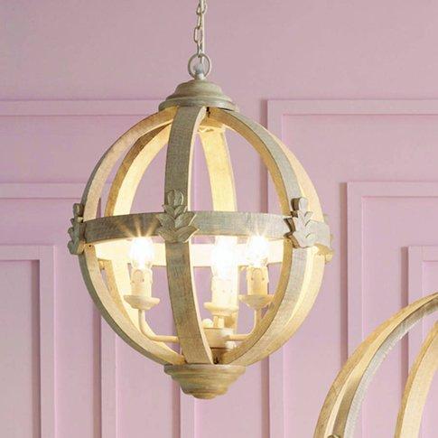 Wooden Orb Three Light Chandelier