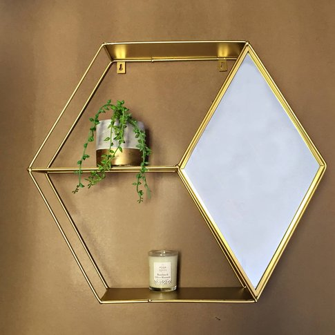 Gold Hexagon Shelving Unit With Mirror