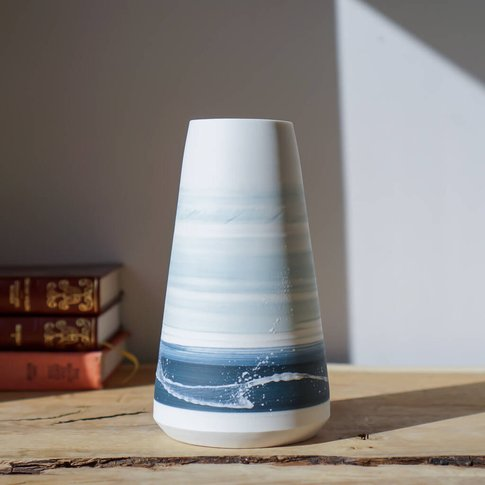Handmade Conical Blue Seascape Vase