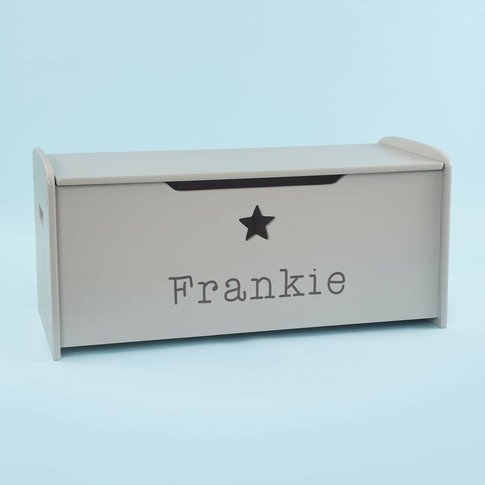 Personalised Large Grey Star Design Toy Box