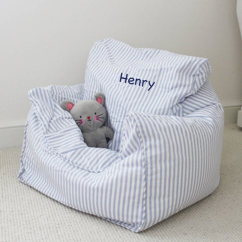 Personalised Childs Blue Bean Bag Chair