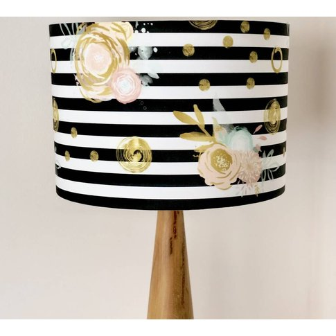 Monochrome Stripe With Gold Pastel Flowers Lampshade
