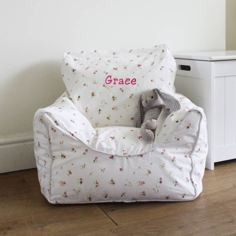 Personalised Childs Floral Bean Bag Chair