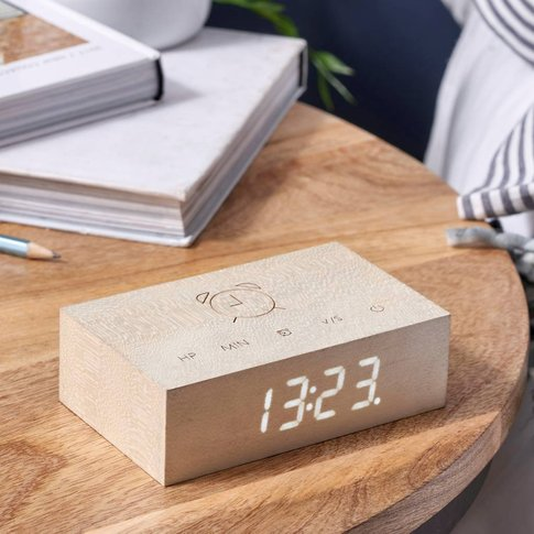 Flip Click Clock White Maple