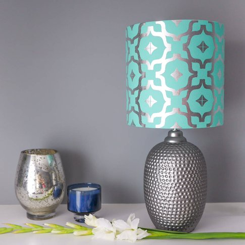 Metallic Lampshade In Teal And Silver