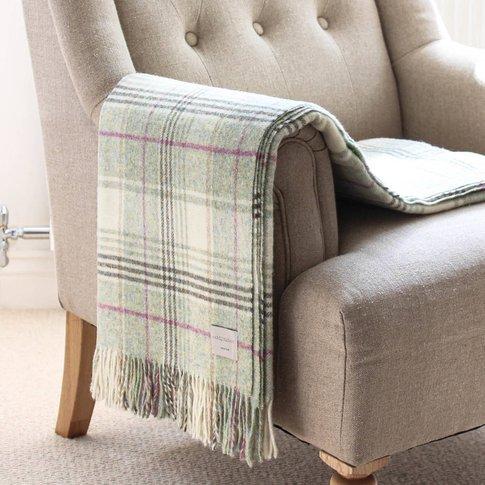 Lakeland Green Check Shetland Wool Throw
